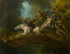 Unknown artist Tam o' Shanter over Brig o' Doon Oil on canvas 45x60